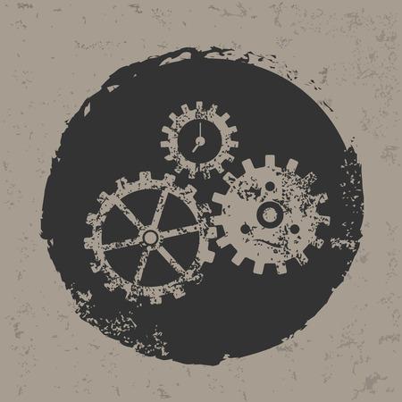 Gears design on grunge background grunge vector Vector