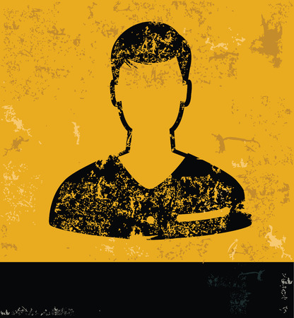 unnamed: Man design concept on yellow grunge background
