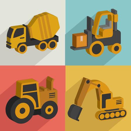 agrario: Iconos de camiones y industryflat designclean vectorial
