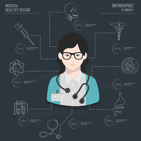 backboard: Medical infographic design on old backboard backgroundclean vector