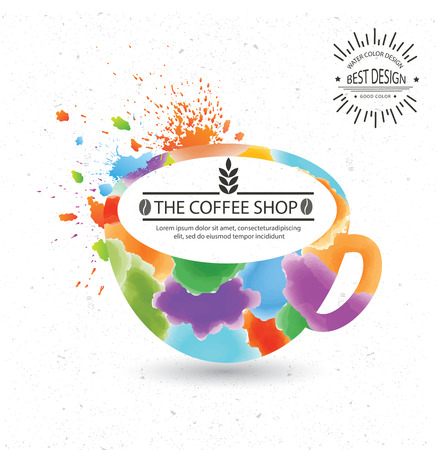 Coffee designwatercolour concept on oldwhite backgroundclean vector Vector