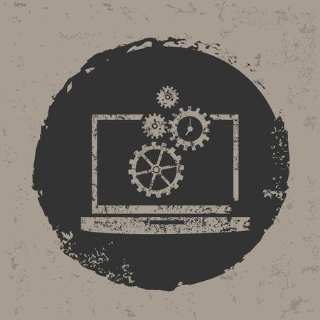 Laptop design on grunge backgroundgrunge vector Vector