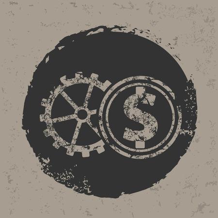 Dollar symbol on grunge designgrunge vector Vector