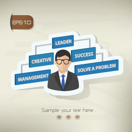 hectic: Businessman design sticker concept on old backgroundclean vector