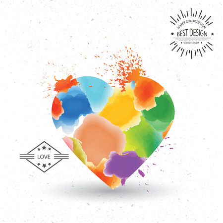 Heart designwatercolour concept on grungewhite backgroundclean vector Vector