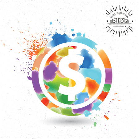Dollar designwatercolour concept on oldwhite backgroundclean vector Vector