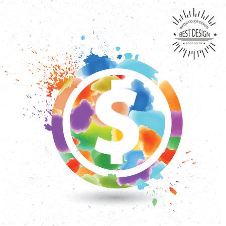 Dollar designwatercolour concept on oldwhite backgroundclean vector Vector