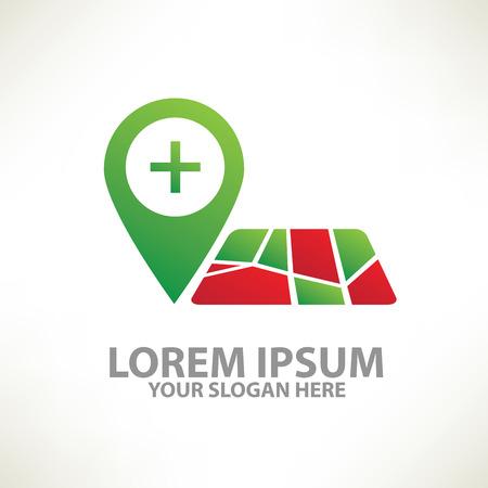 logotipo turismo: Mapa de ubicación designlogo templatecolour vector de concepto designclean