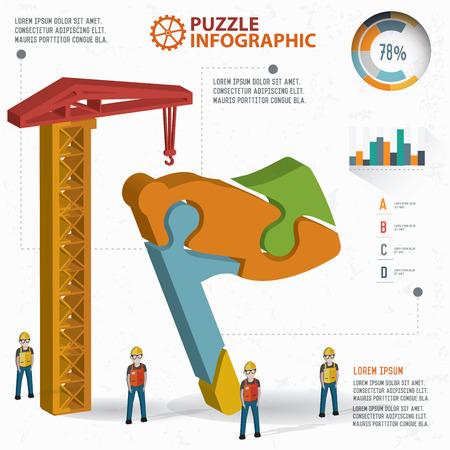 three dimension: Flag puzzle info graphic design,three dimension,clean vector Illustration