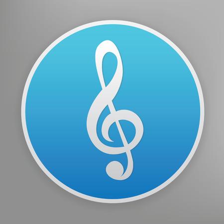 trill: Sound design icon on blue button,clean vector