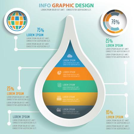 conservacion del agua: Info Gota de agua de dise�o gr�fico, dise�o de concepto de negocios. Vector Limpio.