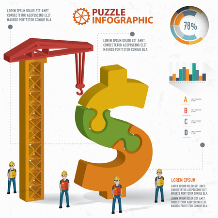 dependency: Dollar puzzle info graphic design,three dimension,clean vector Illustration