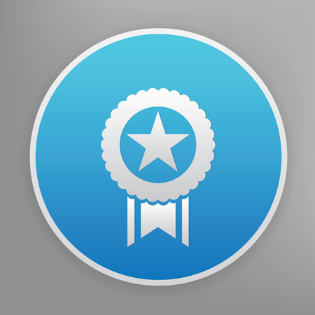 quality icon: Quality badge design icon on blue button,clean vector Illustration