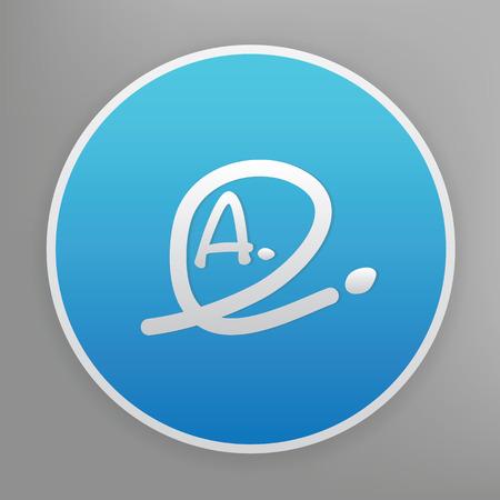 grade: Grade a design icon on blue button,clean vector