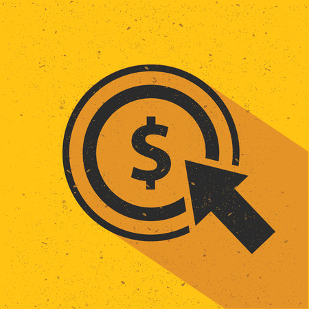 emarketing: Dollar click icon design on yellow background, flat design. Clean vector.