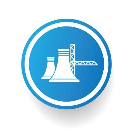 vector nuclear: Nuclear,industry icon design on blue button,white background,clean vector Illustration