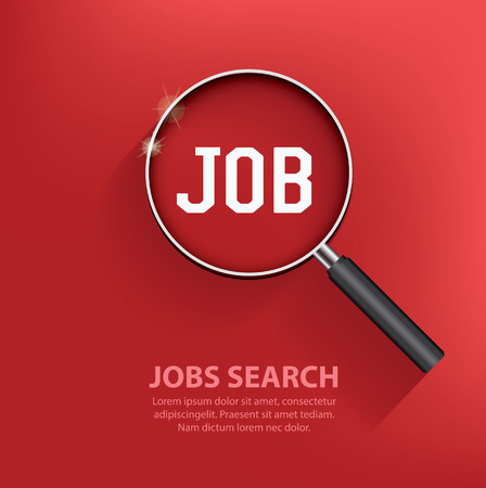 Searching jobs, design on red background. Clean vector. Ilustrace
