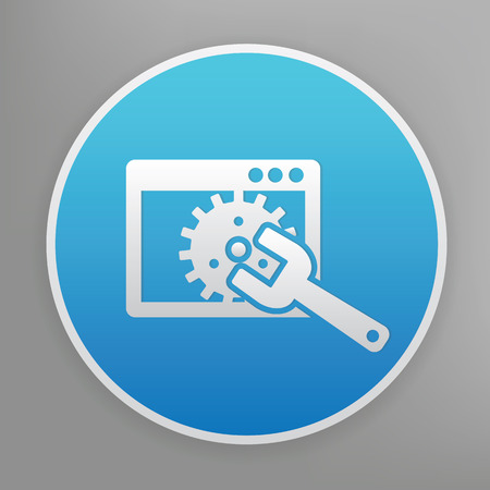rework: Repair design icon on blue button,clean vector