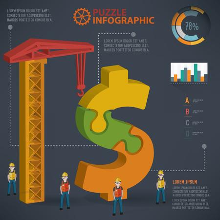 three dimension: Dollar puzzle info graphic design,three dimension,clean vector Illustration