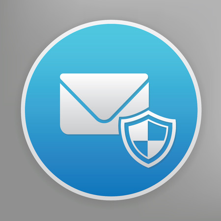 email security: Email security design icon on blue button,clean vector Illustration