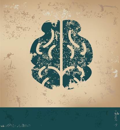 head wise: Brain design on old paper background,grunge concept,vector