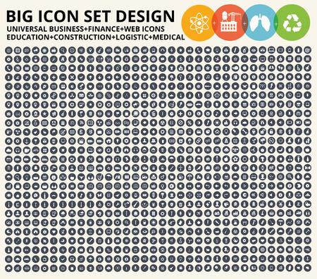 Big conjunto icono, Negocios, sitio web financiero, universal, la construcción, la industria pesada,, atención médica sana, la educación y la ecología, iconos de la naturaleza, vector limpia Ilustración de vector