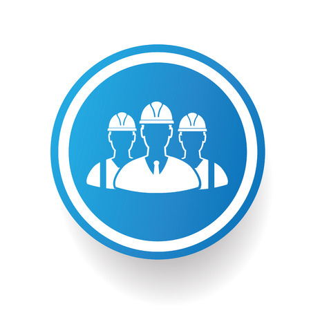 Engineering icon on blue button,white background,clean vector