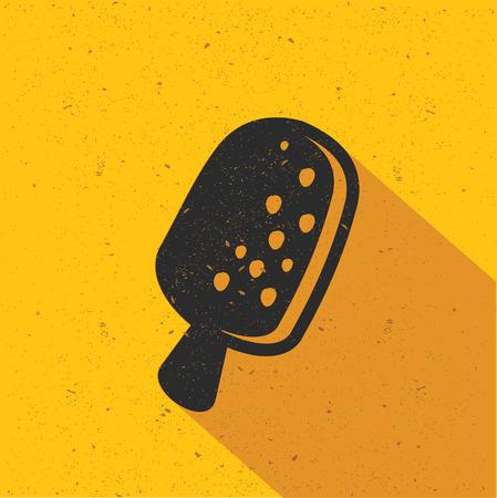 Ice cream icon design on yellow background, flat design. Clean vector.