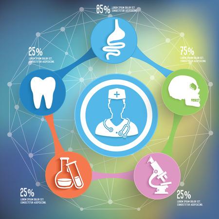 estetoscopio corazon: Diseño gráfico información médica y saludable, de negocios concepto de diseño. Vector Limpio.