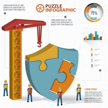 three dimension: Badge puzzle info graphic design,three dimension,clean vector
