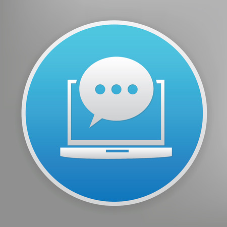 lap: Chat design icon on blue button,clean vector