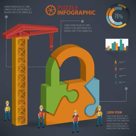 three dimension: Lock puzzle info graphic design,three dimension,clean vector