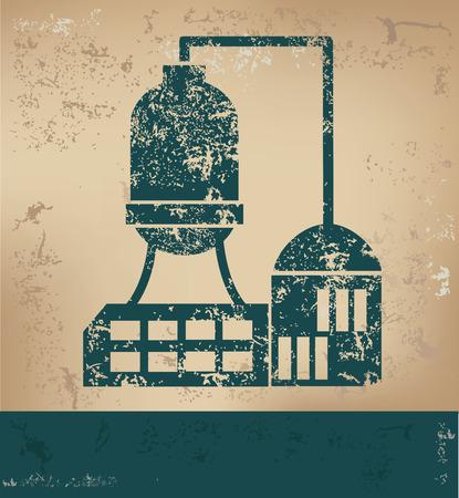 old paper background: Industry design on old paper background,grunge concept,vector Illustration