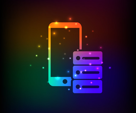 db: Database,mobile phone design,rainbow concept design,clean vector