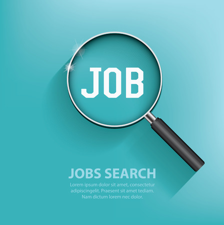 find: Searching jobs, design on blue background. Clean vector.