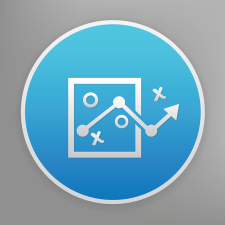 choose a path: Strategy design icon on blue button,clean vector