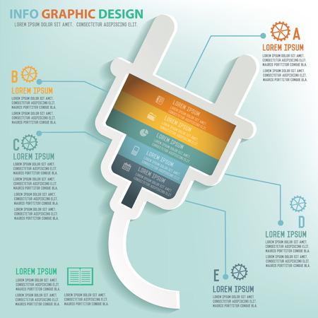 Plug info graphic design, Business concept design. Clean vector.