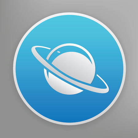 saturn rings: Saturn design icon on blue button,clean vector Illustration
