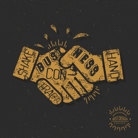 merger: Hand shake design, retro concept ,grunge design on old background, clean vector