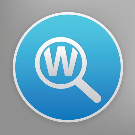 keyword: Keyword searching design icon on blue button,clean vector Illustration