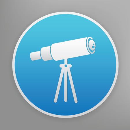 ocular: Telescope design icon on blue button,clean vector
