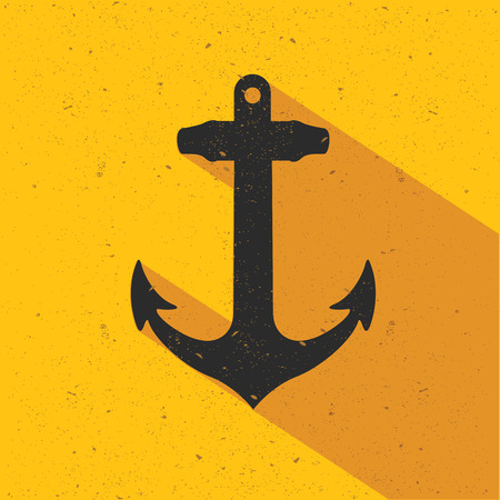 heavy equipment: Anchor design on yellow background,flat design,clean vector Illustration