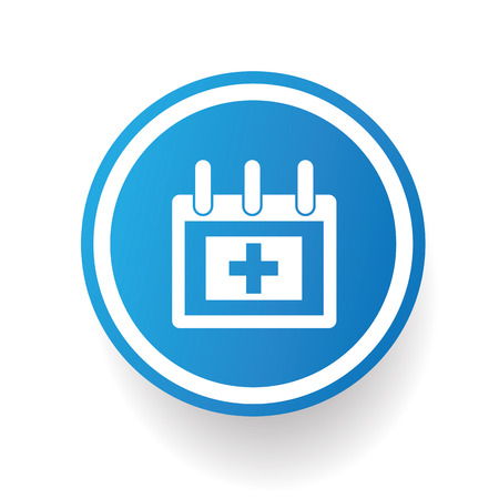 menopause: Medical calendar,blue icon design on white background,clean vector