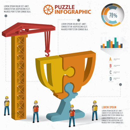 three dimension: Trophy puzzle info graphic design,three dimension,clean vector