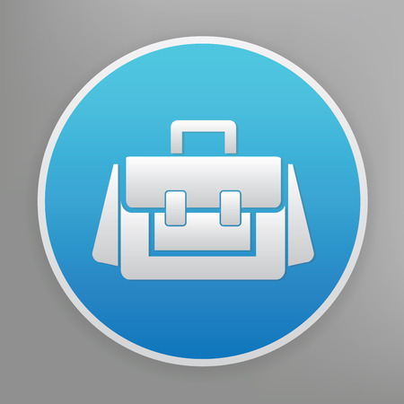 diplomat: Bag design icon on blue button,clean vector