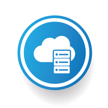 Cloud computing icon on blue button,white background,clean vector