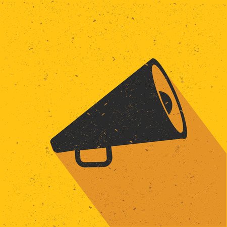 Megaphone icon design on yellow background,flat design,clean vector Illustration