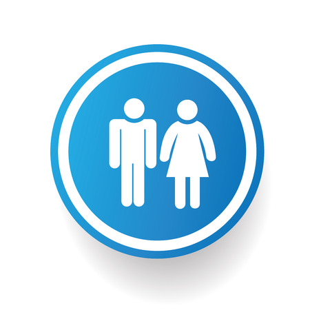 genders: Man and woman design icon on blue button,white background,clean vector