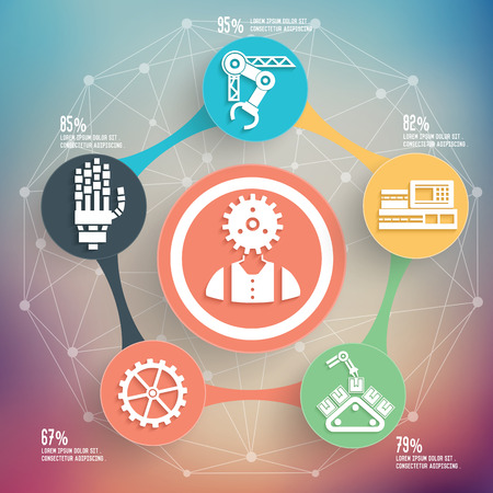 Engineer and industry design on blur background,info graphic design,clean vector