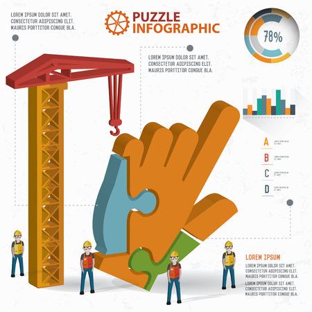 three dimension: Click puzzle info graphic design,three dimension,clean vector Illustration